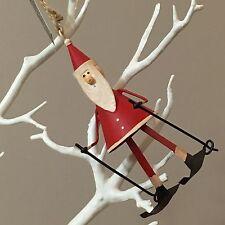 Santa ski. Ski Père Noël Tree Décoration. Shoeless Joe. Métal.
