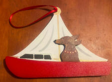 Handcrafted Dandy Design Dachshund Doxie In Sailboat Christmas Holiday Ornament