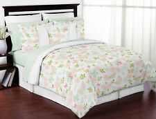 Blush Pink Mint White Butterfly Floral Shabby Chic Girl Full Queen Bedding Set