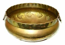 """Huge Vintage 17"""" Hammered Brass Hand Forged Pot with Handles"""