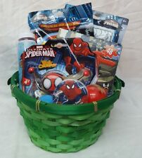 Spider-Man Filled Birthday Easter Gift Basket bubbles color puzzle & more FUN!