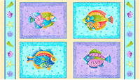 "JEWELS OF THE SEA FISH PICTURE PATCHES 100% Cotton Fabric Panel 44"" X 24"""