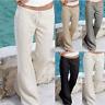 Women Casual Linen Harem Pants Loose Baggy Wide Leg Ladies Yoga Long Trouser