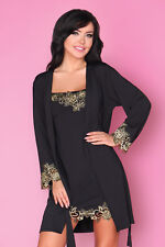 LIVCO CORSETTI Loreli Luxury Soft Decorative Robe With Matching Chemise Set