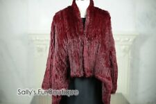 2018 New 100% RABBIT FUR SWING LONG SLEEVE JACKET Wine ONE SIZE Free P&P