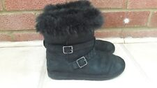 Marks And Spencers Girls Black Winter Boots Size 1