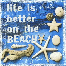 4x Life is Better Sea Paper Napkins for Decoupage Decopatch Craft