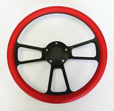 "1964 1965 1966 Pontiac GTO Red on Black Spokes Steering Wheel 14"""
