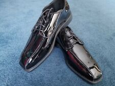 New High Quality Patent Leather Channel Modified Square Toe Tuxedo Formal Shoes