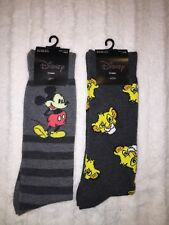 Lot of 2 pair NWT MENS DISNEY MICKEY MOUSE And Lion king Crew Socks