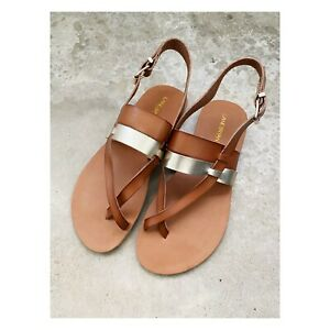 Lane Bryant 8 Wide Plus Leather Sandals Flats Brown Gold Slingback Buckle