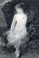 PRETTY NAKED NUDE WOMAN GIRL GODDESS PSYCHE ~ 1888 Art Print Photogravure  RARE!