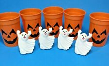 Set of 4 Ghost Napkin Rings Holders Ceramic and 5 Jol plastic tumblers Halloween