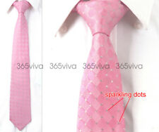 Hot Pink Checker Men Neckwear Necktie 100% Woven Silk 8 cm Wedding Tie