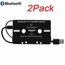 2 Pack Car Audio Edr Bluetooth 4.0 Cassette Csr Version Music Adapter Aux Jack