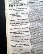William T. Sherman Defeated in the South ? Civil War Nears End 1865 Newspaper