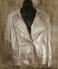 CHICOS Champagne Jacket Womens Size Large 12 Faux Leather Zip Up A Chicos 2