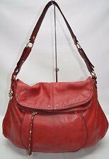 Hayden Harnett Havana Red Soft Pebble Leather Studded Flap Shoulder Bag