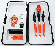 Orange Leopard Slim Rubberized Sure Grip Soft Tip Dart Set + Case 18 gram - 2