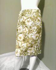 Premise Women's Cotton Green & white Floral Pencil Skirt Retail $58. ~Size 14