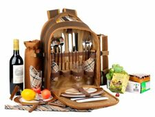 Picnic Backpack Bag for 4 Person With Cooler Compartment Blanket Cutlery Camping