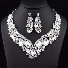 Elegant Clear Austrian Crystal Rhinestone Necklace Earrings Set Bridal Prom N35