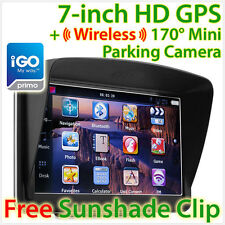 "7"" GPS Car Navigation Wireless Reverse Camera Sat Nav HD Portable iGO Primo OZ"