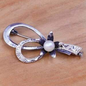 Vintage sterling silver handmade brooch, 925 ribbon flower with pearl details