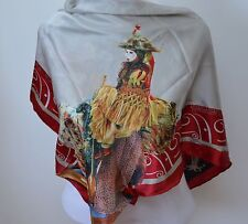 Adele Sciortino Artist 34 x 34 Hand Rolled Silk Scarf Journey Woman's Fish Tale