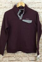 Spyder womens large pullover sweatshirt quilted new 1/4 snap shirt  burgundy A2