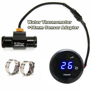 Blue LED Motorcycle Thermometer Water Temp Gauge Meter With 18mm Sensor Adapter