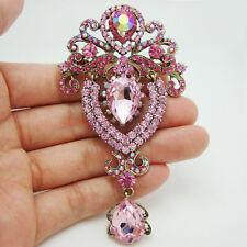 "3.74"" Pretty Crown Flower Drop Brooch Pin Pink Rhinestone Crystal Pendant"