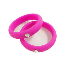 Men Women Silicone Wedding Ring With Rhinestone Flexible Causal Rubber Band Gift