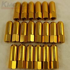 NEW M12X1.5 60MM GOLD 20 PCS EXTENDED FORGED ALUMINUM TUNER RACING LUG NUT SET