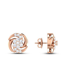 0.44 Cts Round Brilliant Cut Natural Diamonds Stud Earrings In Fine 14Carat Gold