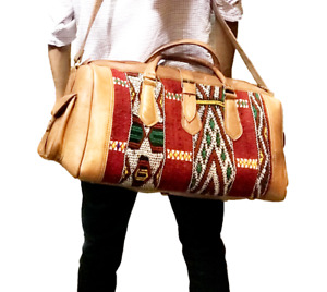 Moroccan Leather with kilim travel Duffle Bag, Handbag Tribal Bohemian Large