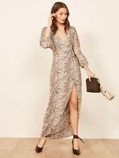 Reformation Primrose Wrap Dress Gray Python Print XS Sold Out NWT $248