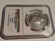 1947 Canada Silver Dollar Blunt 7. NGC AU 50