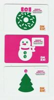 DUNKIN DONUTS Gift Card LOT of 3 - Christmas / Snowman,Tree, Wreath - No Value