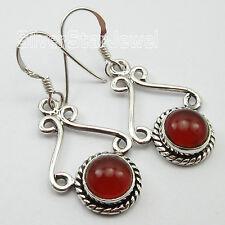 """Carnelian Dangle Earrings 1.3"""" """"925 Stamped"""" Solid Silver Jewellery ! Red Fire"""