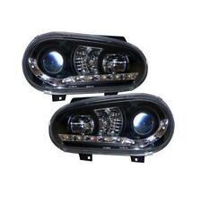 VW Golf Mk4 98-04 Black Projector headlights with LED DRL strip R8 style