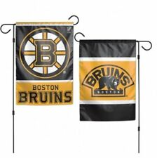 "Boston Bruins 2 SIDED GARDEN FLAG 12""X18"" YARD BANNER OUTDOOR RATED"