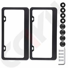 2 Slim Plain Metal License Plate Frame Car Truck Auto Cover Holder-Color Black