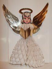 VTG FOLDING HONEYCOMB PAPER ANGEL Choir Girl White & Gold W/ Glitter CHRISTMAS