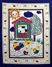 Farm Animal Barn Baby Quilt top Panel Fabric 100% Cotton Apple tree Cow chicks
