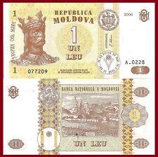 Moldova P8, 1 Leu, King Stefan the Great , UNC, see UV & w/m images US seller
