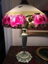 VINTAGE REVERSE PAINTED LAMP ROSES HANDEL ERA PITTSBURGH OR JEFFERSON