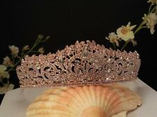 Rose Gold Plated Austrian Crystal Bridal , Prom tiara Sweet 16 Tiara T-015-C