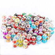Good 50pcs multicolor SILVER MURANO bead LAMPWORK fit European Charm Bracelet