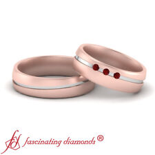 With Three Stone Round Ruby Gemstones 2 Tone Matching Promise Rings For Couples